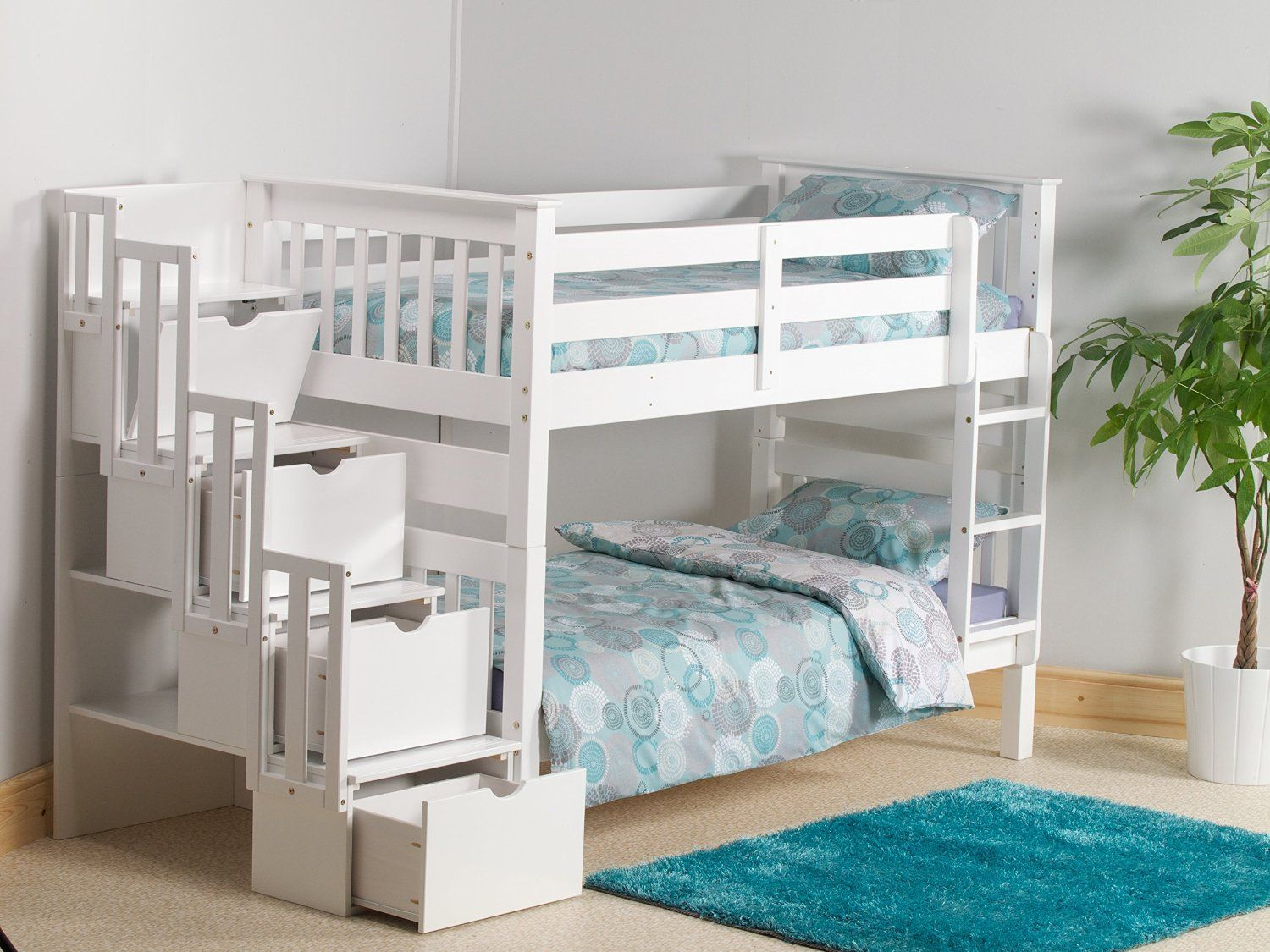 mission staircase storage single bunk bed in white pine: amazon.co