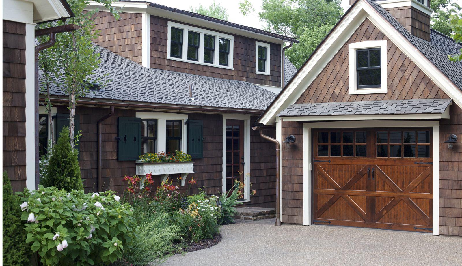 Exterior Cedar Shakes Above House Garage Door Cedar Shakes Above Garage Door Teak Wood Coplay Garage Door With Mirror Lites Dark Brown Wooden Vinyl Siding Dec
