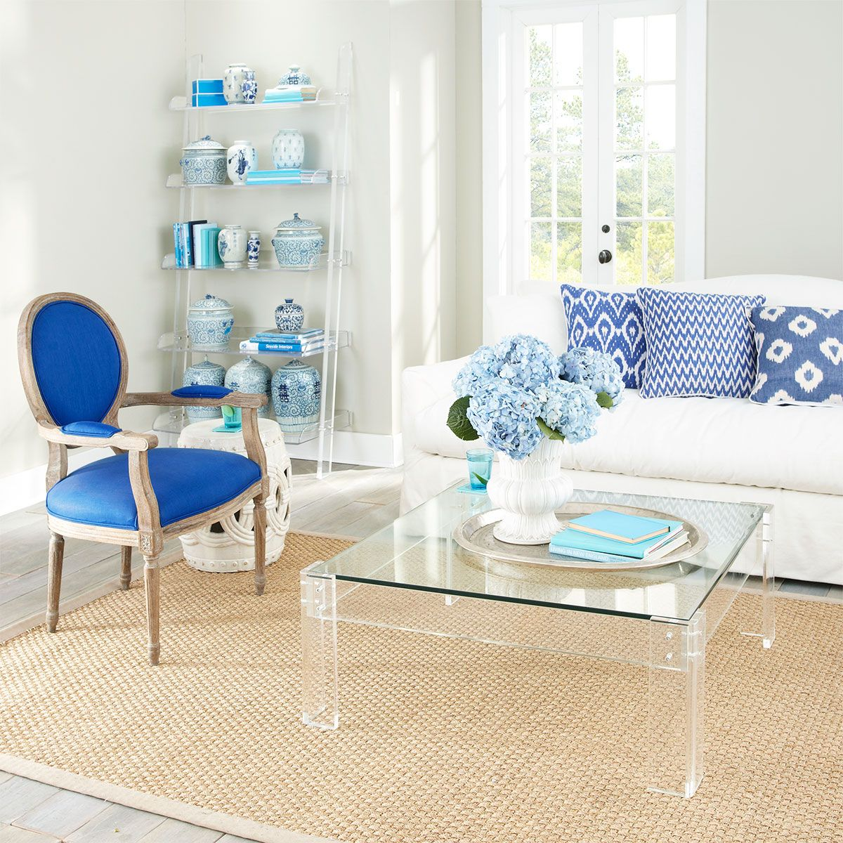 Glass coffee table in living room wisteria  furniture  shop by category  coffee tables  acrylic