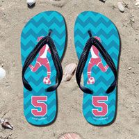 Kick back after a match with these great flip flops! Fun and functional flip flops for all soccer players and fans.