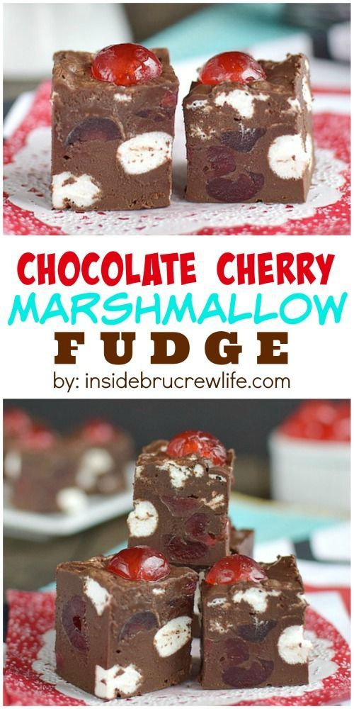 easy chocolate fudge has cherries and marshmallows in every bite.  It's creamy and delicious!!!