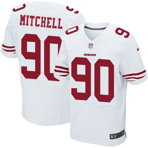 Men's San Francisco 49ers #90 Earl Mitchell White Road Stitched NFL Nike Elite Jersey