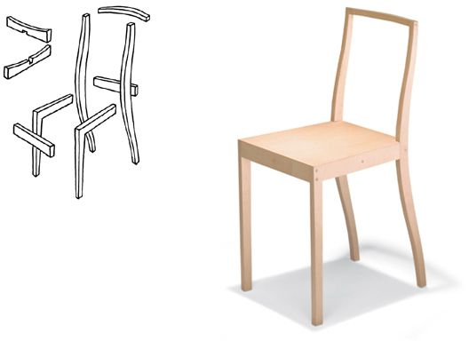 """Plywood Chair 1988 Constructed from plywood, glue and screws. Originally made for the installation """"Some New Items for the Home"""" in Berlin.  Later produced by Vitra, Switzerland  Photo: Studio Frei/Vitra"""