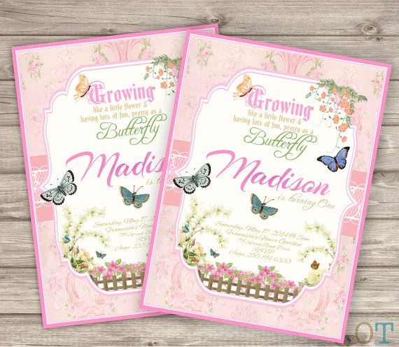 invitations garden butterfly vintage princess theme girl baby shower