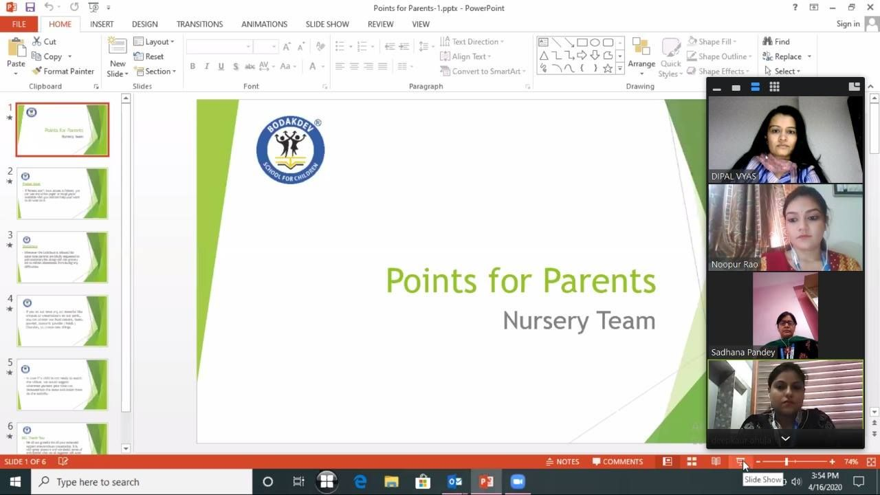 Virtual Interaction for Nursery in 2020 Observational