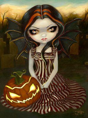 Pumpkin Pixie gothic fairy Halloween art CANVAS PRINT