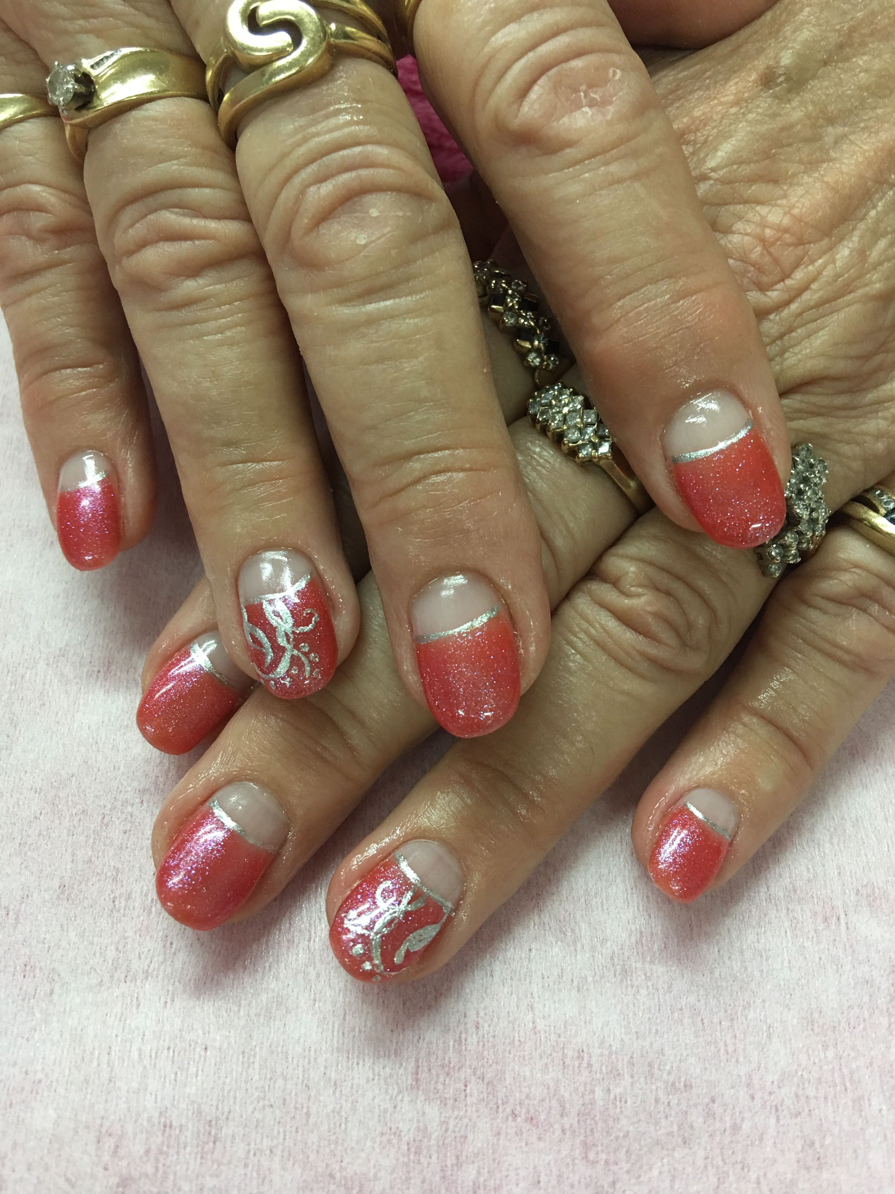 Iridescent Coral High French Gel Nails   Gel Nail designs   Pinterest
