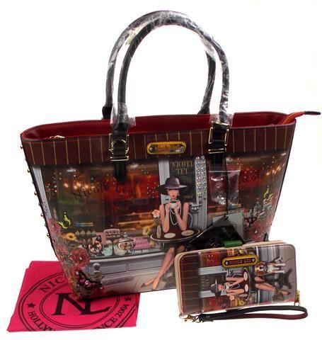 Nicole Lee Lauren Goes Coffee Break Print Tote Handbag & Wallet LAU11685 Purse - FUNsational Finds - 1