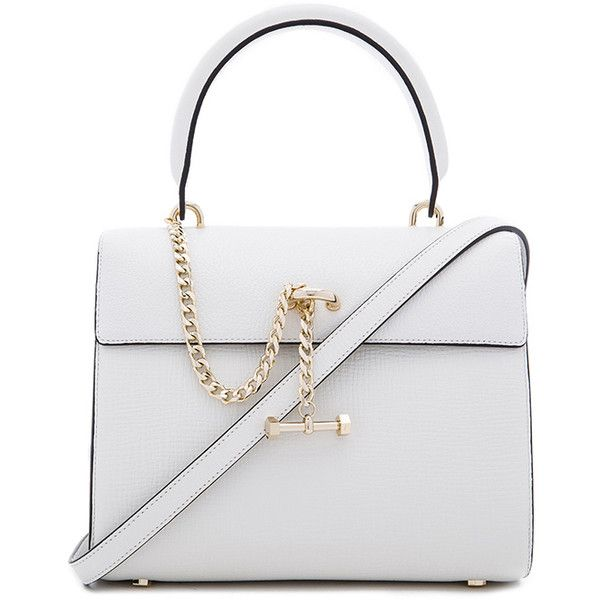 Luana Italy Paley Mini Satchel (£235) ❤ liked on Polyvore featuring bags, handbags, hand bags, mini handbags, white leather purse, man bag and satchel purses