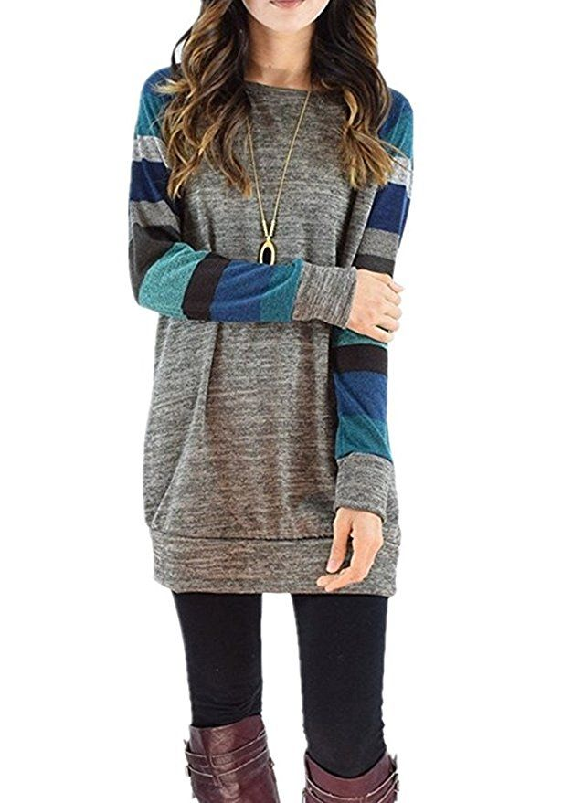 HARHAY Women's Cotton Knitted Long Sleeve Lightweight Tunic ...