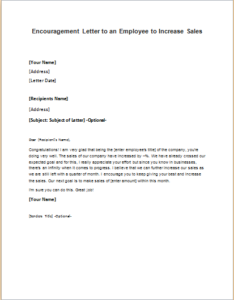 Encouragement Letter To An Employee To Increase Sales Download At