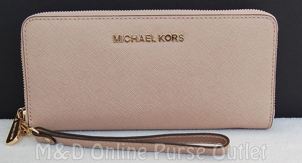 fbb2ab781901b5 NWT NEW Auth Michael Kors Jet Set Travel Continental Wristlet Wallet ~Blush  #MichaelKors #ClutchWallet
