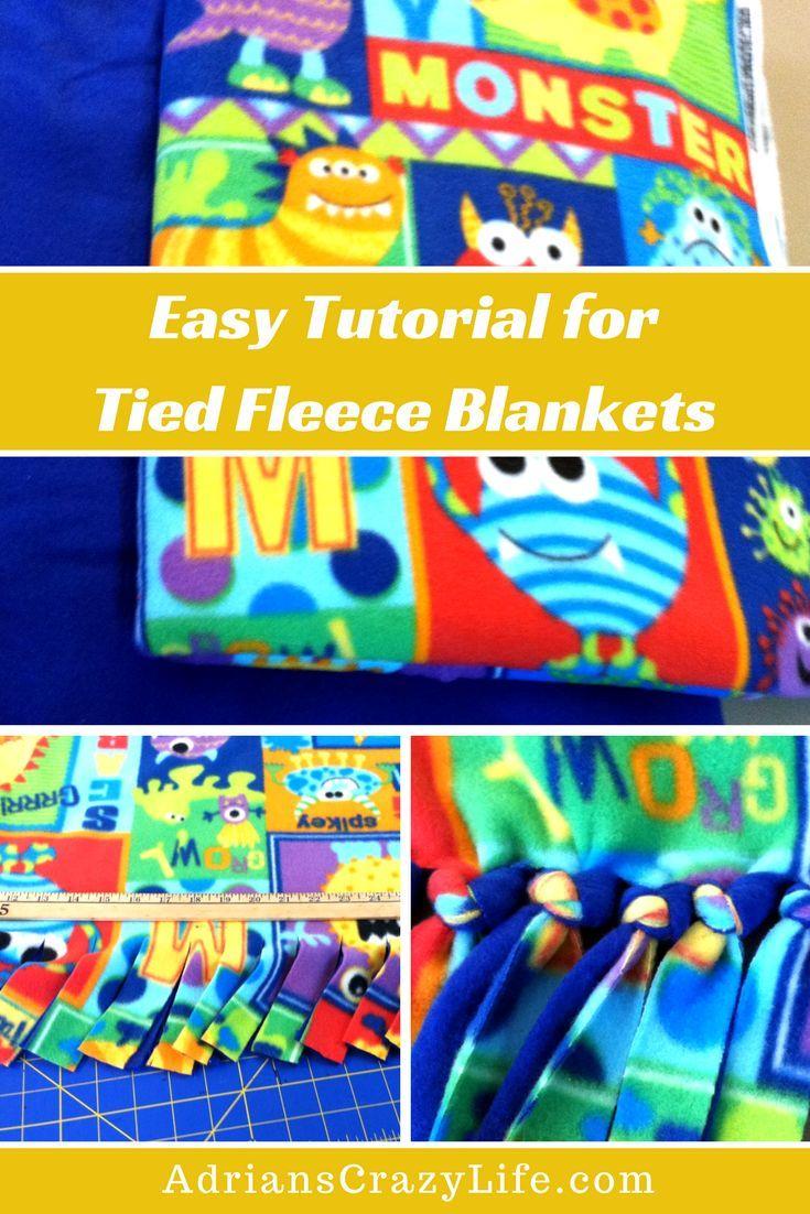 Easy diy tutorial for tied fleece blankets