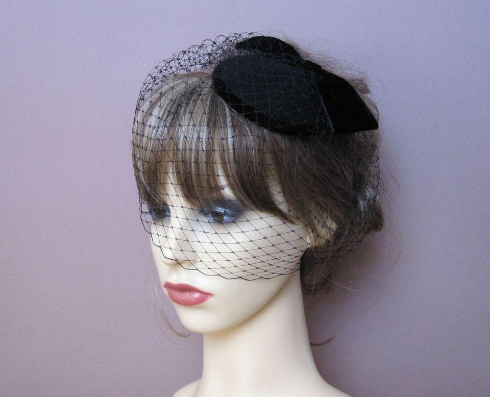 black felt headpiece fascinator birdcage veil small formal hat