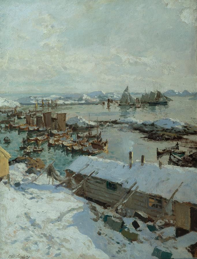Otto Ludvig Sinding (1842-1909): In Svolvaer Harbour