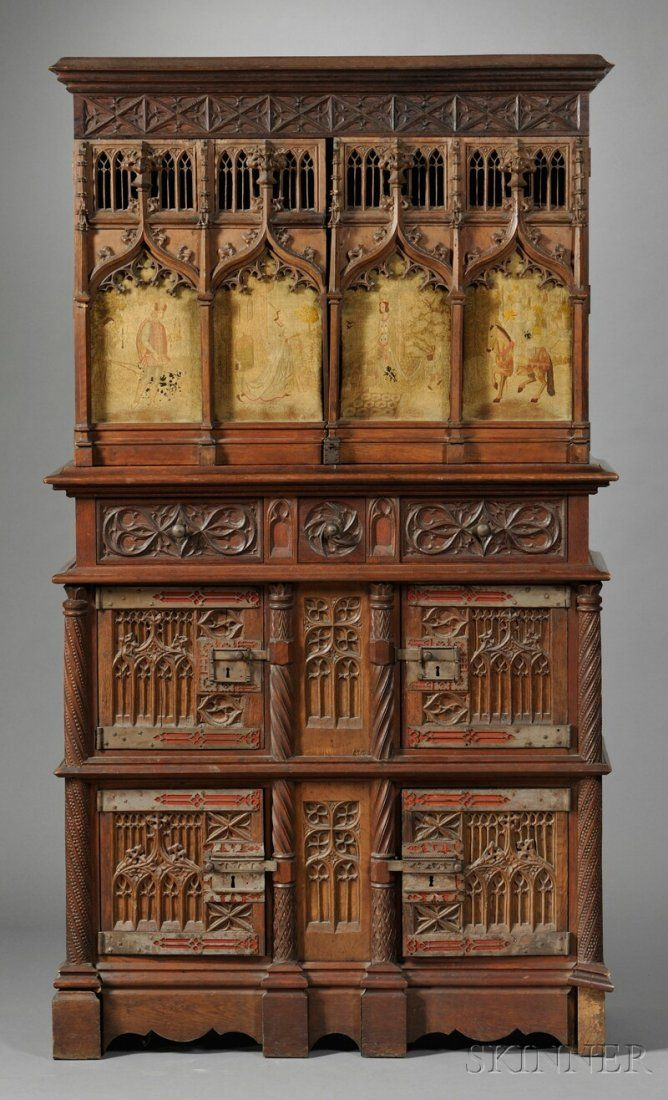 Gothic Revival Oak Court Cupboard, France, 19th century - 643: Gothic Revival Oak Court Cupboard, France, 19th Ce On Up For