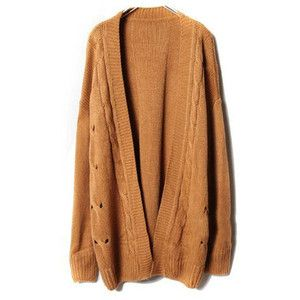 Dark Brown Knit Cardigans with Open Front Detail | Reisen ...