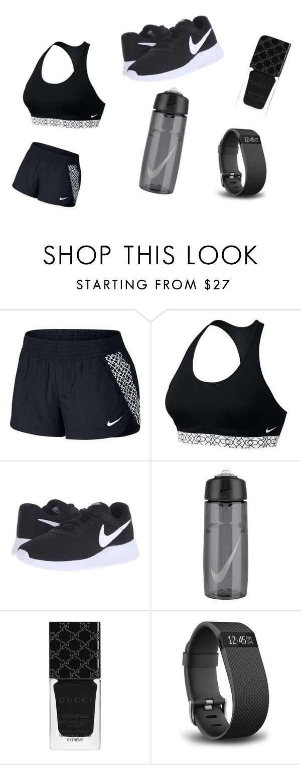 """Nike run"" by hoesetrainer777 ❤ liked on Polyvore featuring NIKE, Gucci and Fitbit"