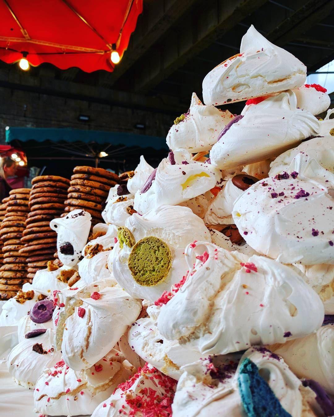 Huge meringues and soft baked cookies (photo credit: @sheilasuppiah) #meringue #cookies #food #boroughmarket #london #LHRBRU #LHR2016