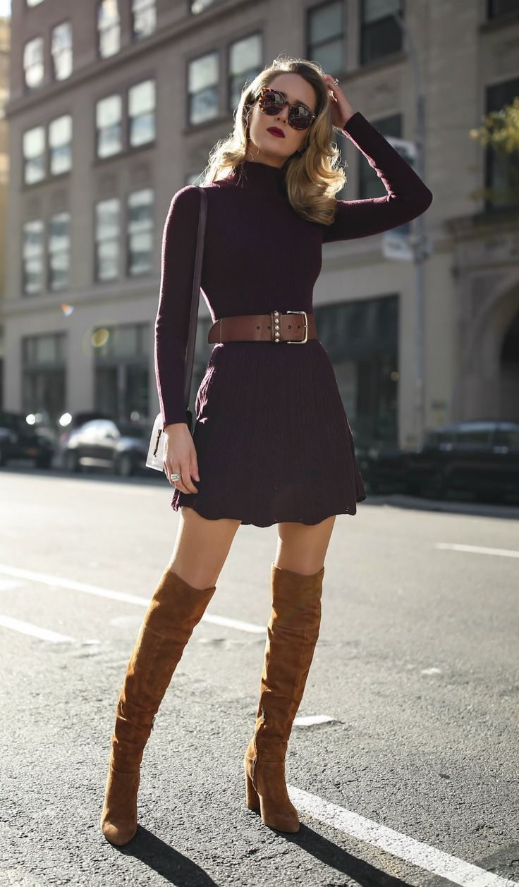 30 DRESSES IN 30 DAYS: Holiday Shopping //  Burgundy turtleneck fit-and-flare sweater dress, floral jacquard longline coat, brown suede over-the-knee boots, brown leather waist belt and a burgundy leather cross body bag {See by Chloe, Smythe, YSL, what to wear shopping, holiday style, festive style, classic style, sweater dress, fashion blogger} #sweaterdressoutfit