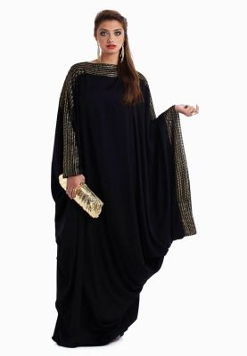 Glamorous design with an elegant appeal! This gorgeous Kiah Abaya accentuates your silhouette with a glitzy gold belt and a loose flowy fit adding a chic element to this classic offering. Gold embellishment along sleeves completes the look of this gorgeous creation.
