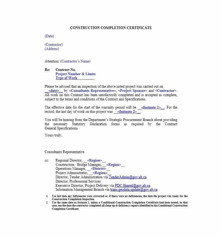 certificate construction completion balance certification letter - certificate of completion template word