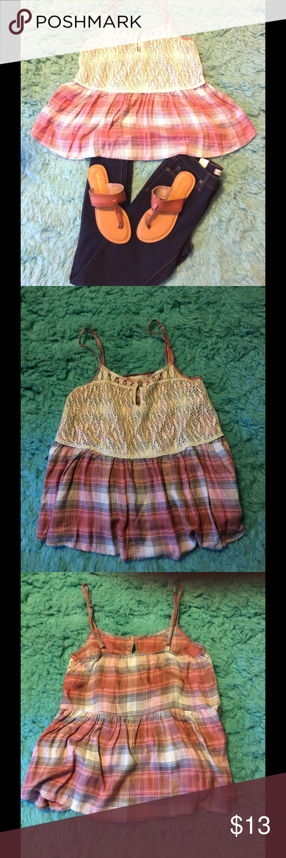 NWOT plaid top with lace detail .❤️❤️ Plaid top with adjustable straps. Love this top but does run small. Altar'd State Tops Blouses