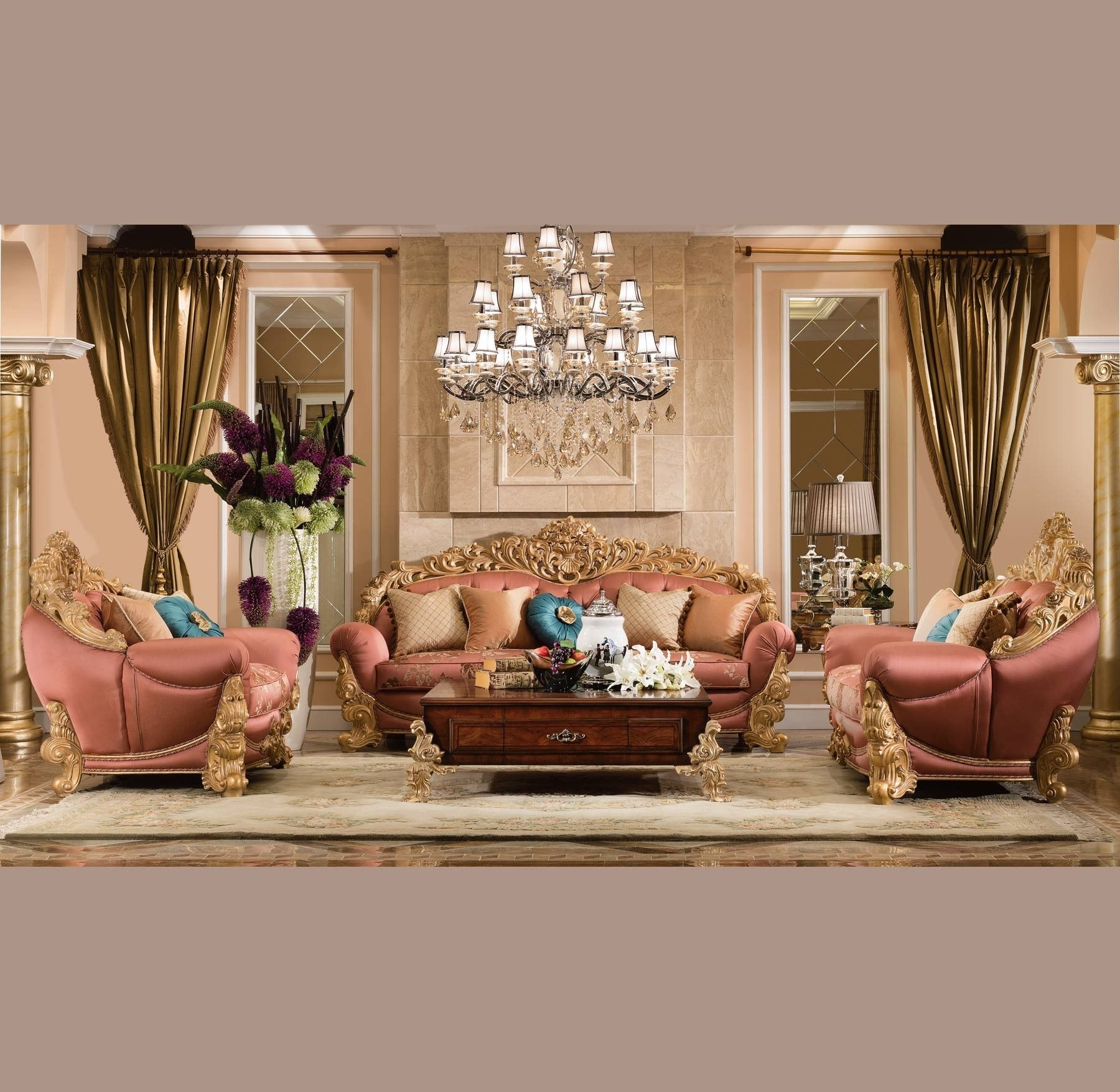 Waldorf 5 Pc Living Room Set Waldorf Living Collection Living Room Sets Gold Living Room Round Dining Room Pc living room decor set by home