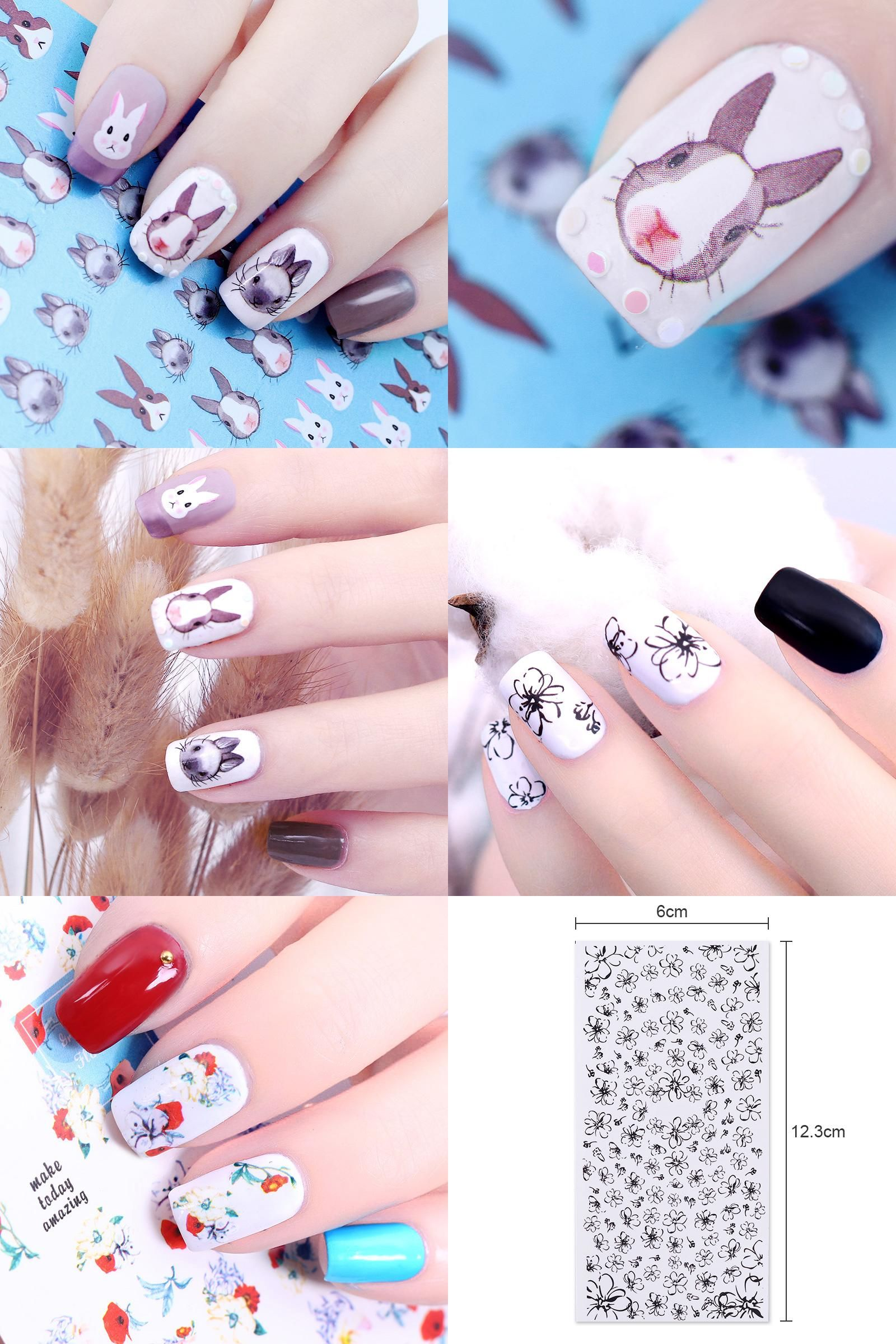 Visit To Buy Nail Sticker Rabbit Graphical Flower Line Flower Water