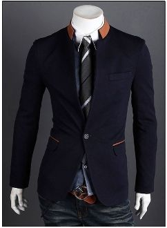Mens style : Contrasting Collar Blazer