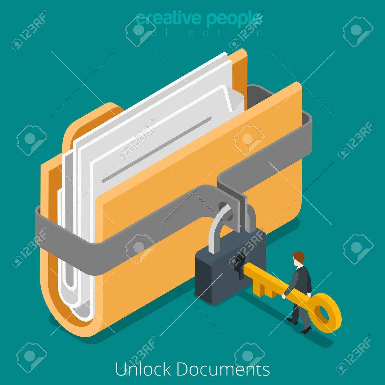 Unlock Folder Secure Data File Document With Lock Key Icon Flat Key Icon Isometric Design Unlock