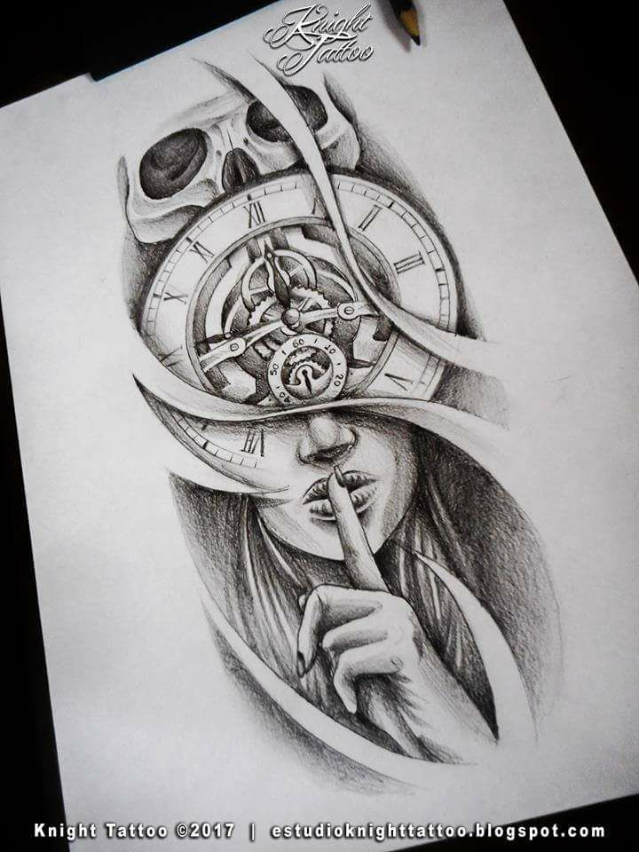 tattoodesign clock silence skull tetovani pinterest tattoos tattoo designs a clock. Black Bedroom Furniture Sets. Home Design Ideas