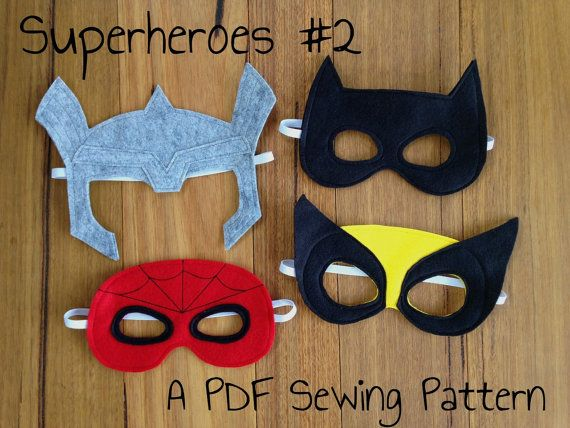 Batman Spiderman Wolverine and Thor Felt Superhero Mask PDF ...