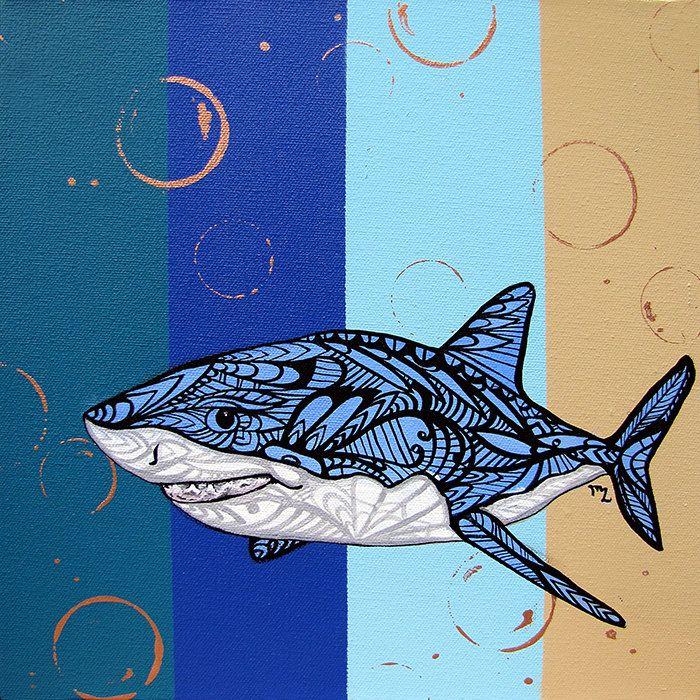 Liven Your Walls Paintings Tierra Este: Great White Shark Zentangle Art Print