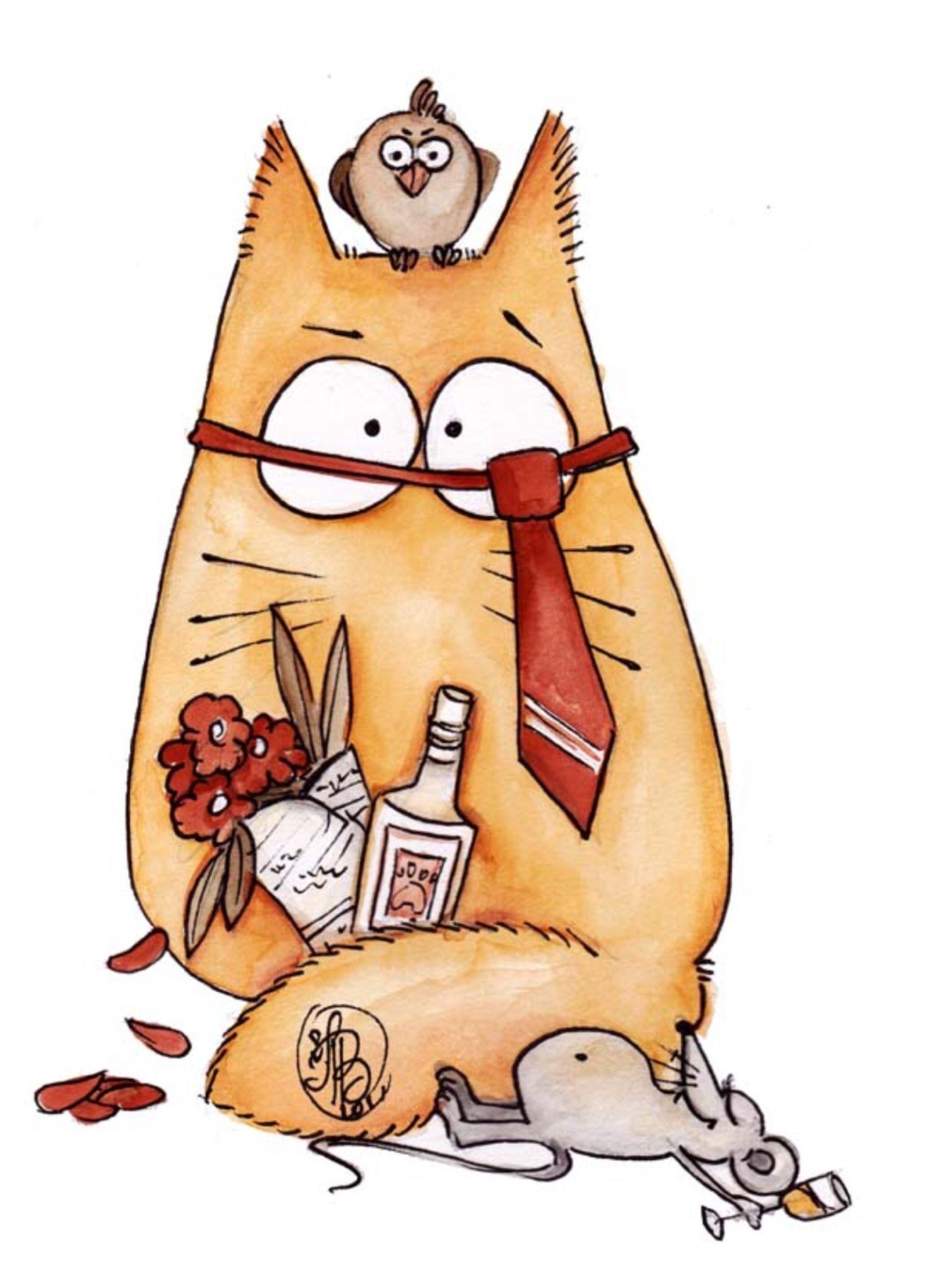 рисунки смешные коты рисуем мощными оттенками цветов