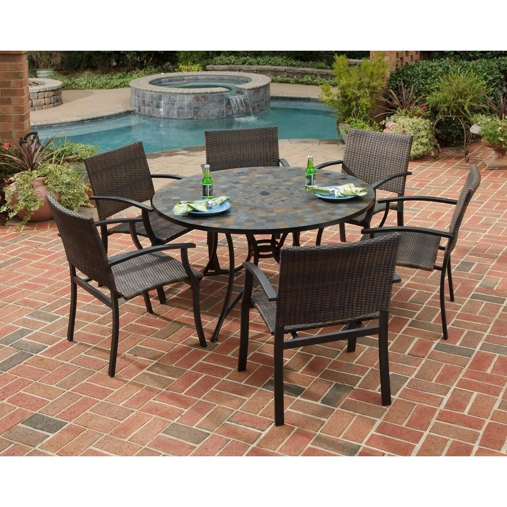 Home Styles Stone Harbor 51 In 7 Piece Slate Tile Top Round Patio