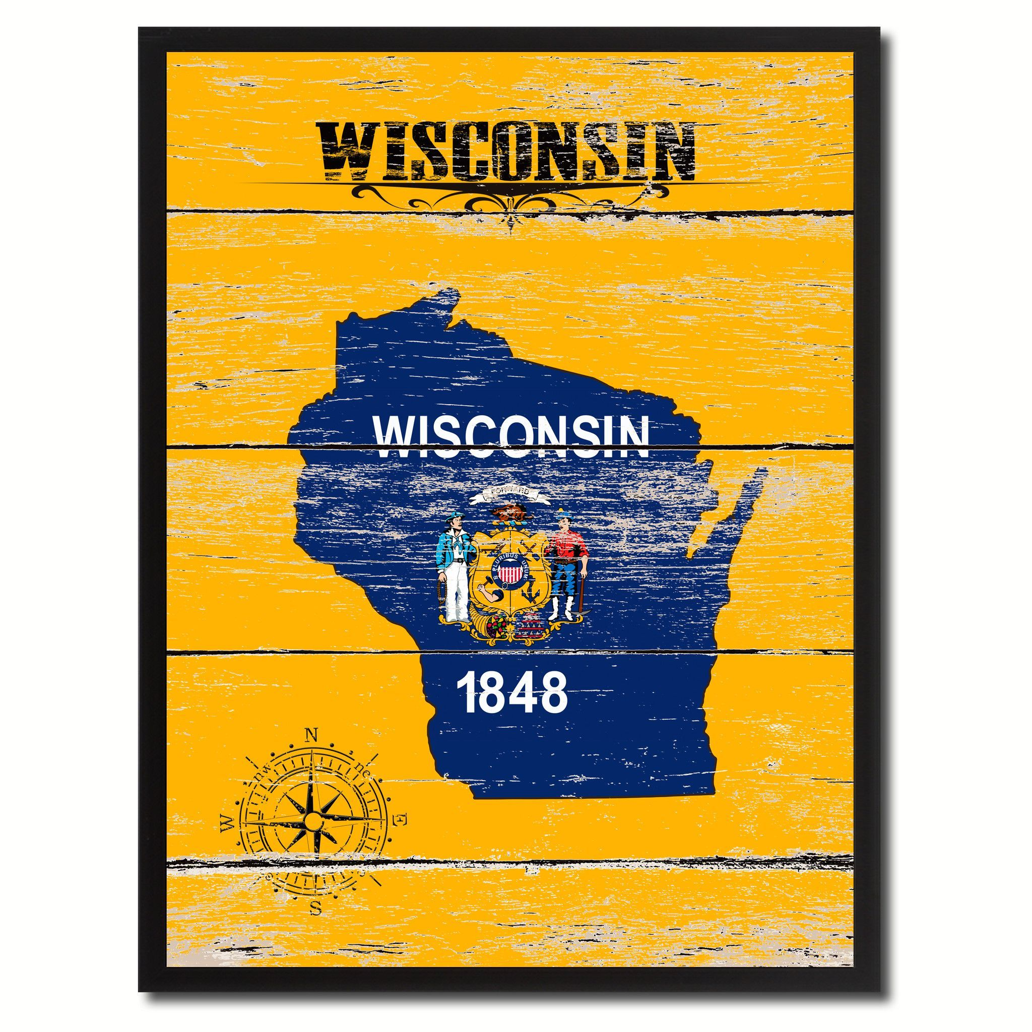 43c0b8df47cd4 Wisconsin State Accent Map Flag, 7