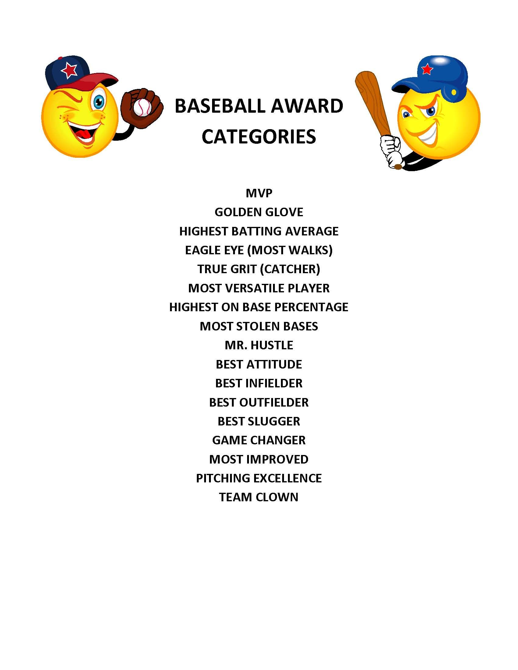 end of season baseball award categories kid s baseball party