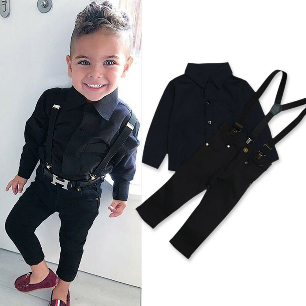 5723d4fb1 Details about 2Pcs Toddler Kids Baby Boy T-shirt Tops+Strap Pants Trousers Outfits  Set Clothes
