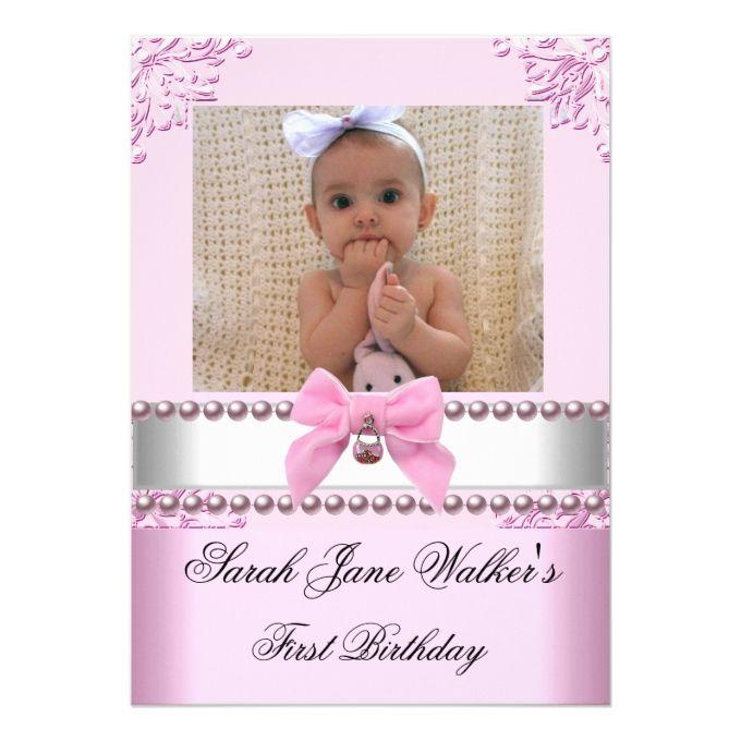 1st birthday girl pink white pearl photo first card 1st birthday girl pink white pearl photo first 5x7 paper invitation card stopboris Choice Image