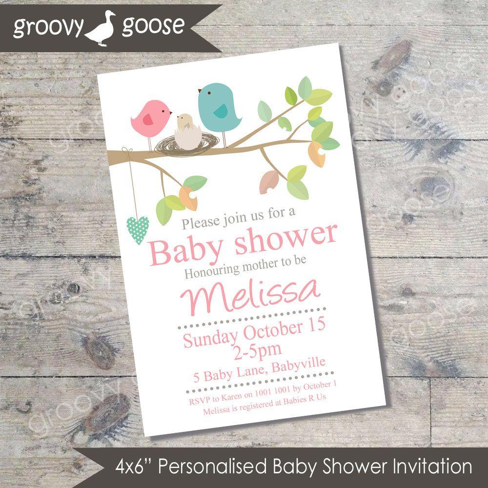 Bird Nest Baby Shower invitation (PINK) DIY Printable Baby shower ...
