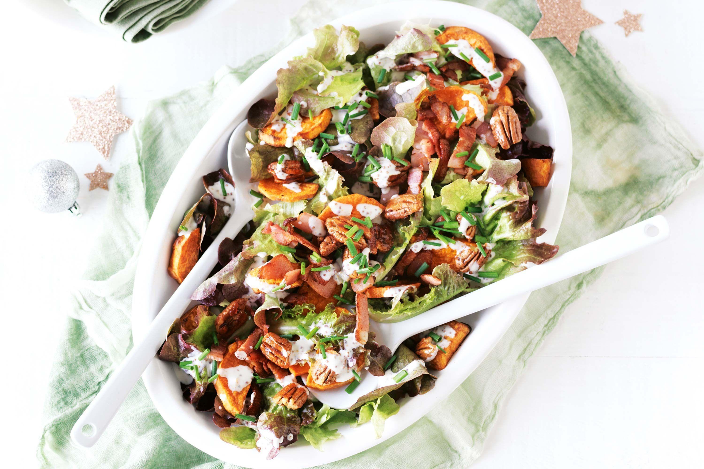 Sweet Potato Salad With Buttermilk Dressing Recipe In 2020 Salad With Sweet Potato Delicious Salads Buttermilk Dressing
