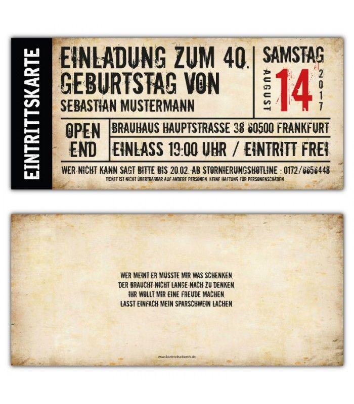 Einladungskarte Einladung Als Ticket 30 40 50 60 Geburtstag