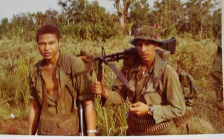 steve Blackburn and john podlaski on patrol with Wolfhounds 1970