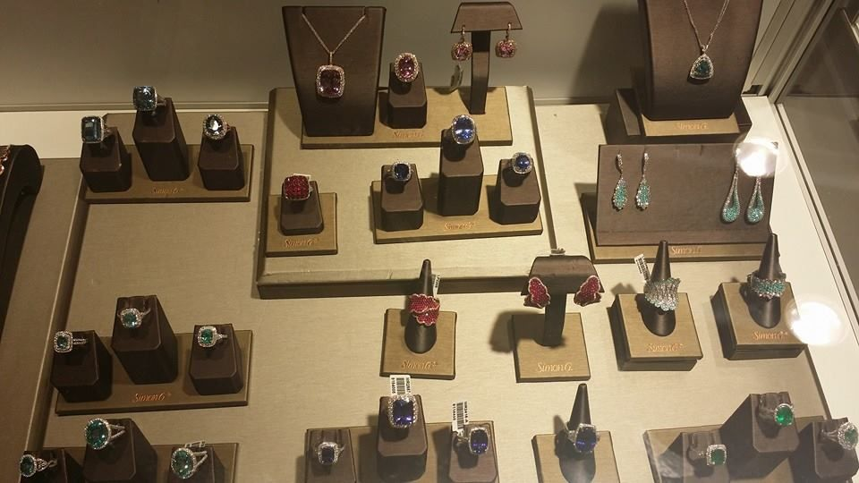 Amazing colored gemstone jewelry by Simon G. at the Luxury Prive show in NYC.