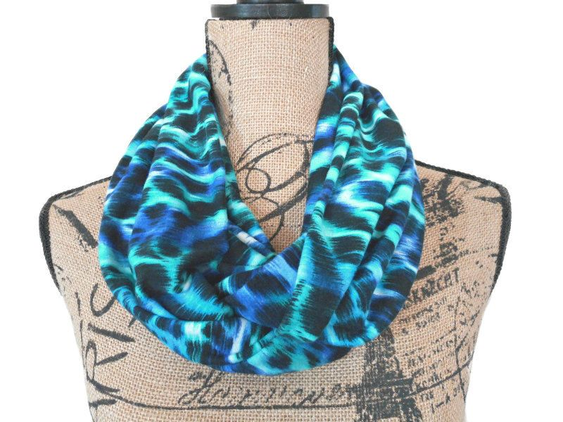 Blue Animal Print Infinity Scarf Turquoise Black Purple Floral Abstract…