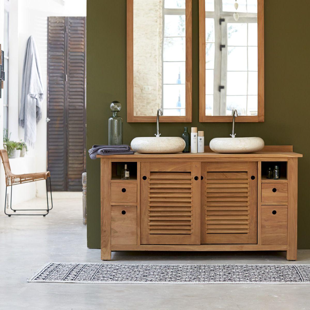 meuble salle de bain double vasque teck pas cher