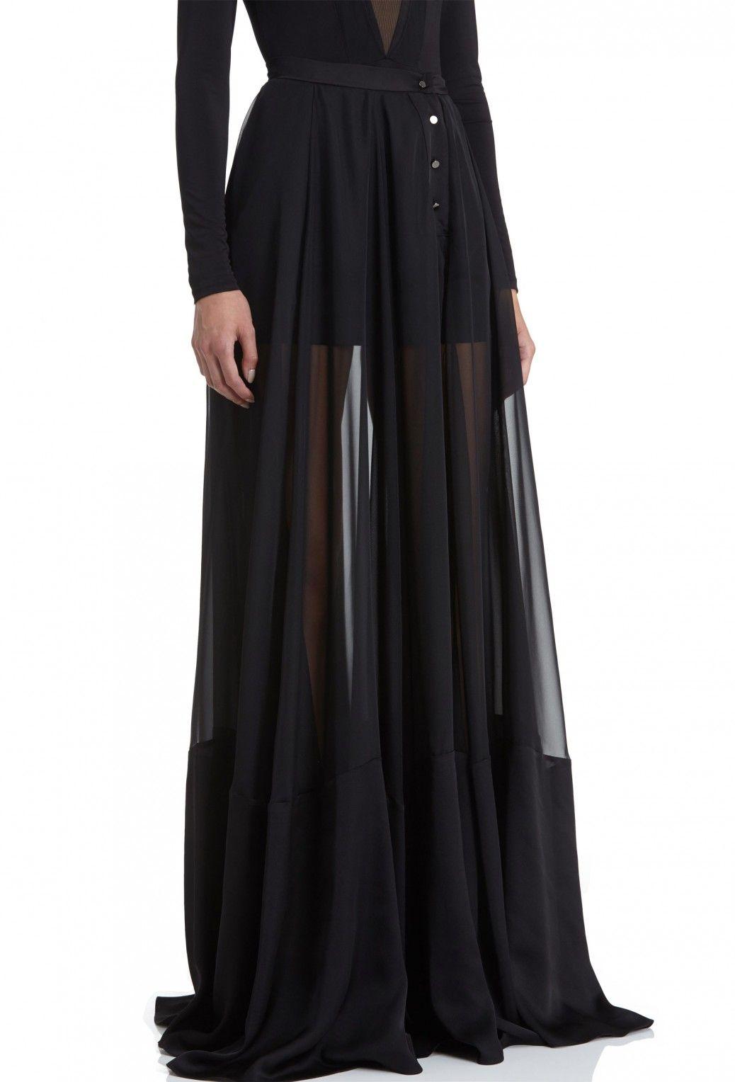 4e08beb58 Image 2 of AQ/AQ Peshley Sheer Chiffon Maxi Skirt with Side Split · Black ·