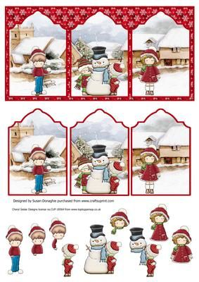 Playing in the Snow triptych on Craftsuprint designed by Susan Donaghie - Cute clipart kids have built a snowman and are playing snowballs. A bright and cheerful design for Christmas. - Now available for download!