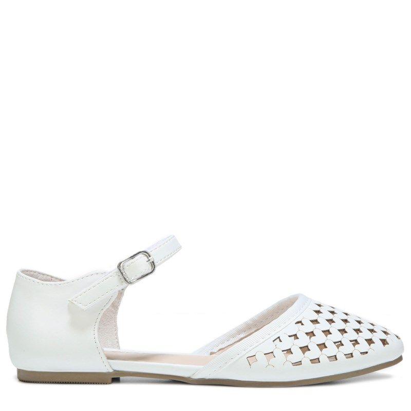 Nine West Kids Kids' Vivien Flat Dress Shoe Pre/Grade School Shoes (White)